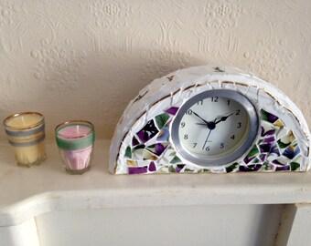 Mosaic Broken China Mantel / Desk Clock in Floral Design with Gold Border