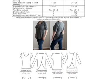 Envelope Tee PDF Sewing Pattern Open Back Tee Shirt and Tank Top Pattern