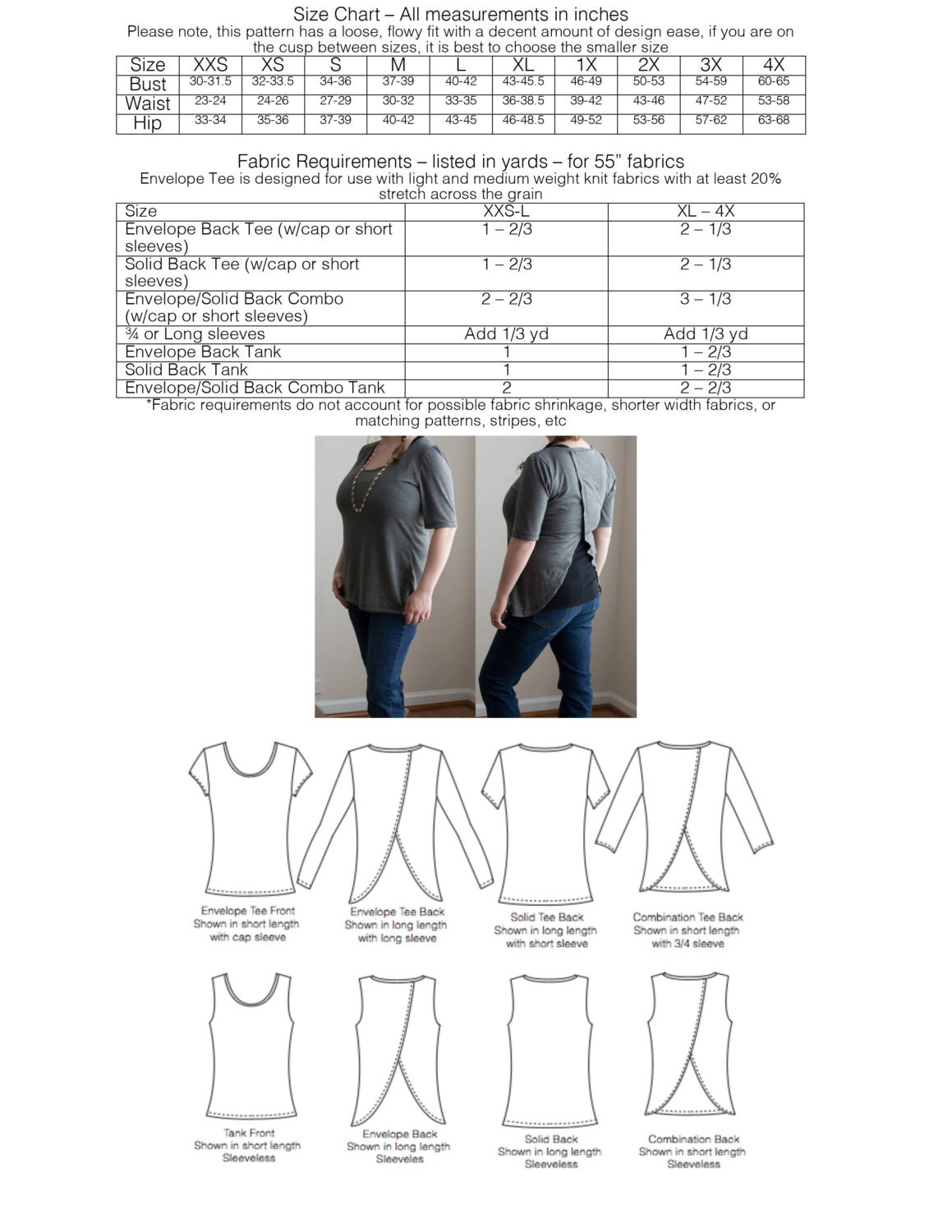 Envelope Tee Pdf Sewing Pattern Open Back Tee Shirt And