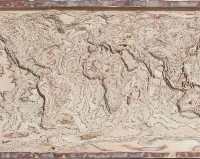 "3D wooden map of the World 26"" x 47"" (65 cm x 120 cm)"