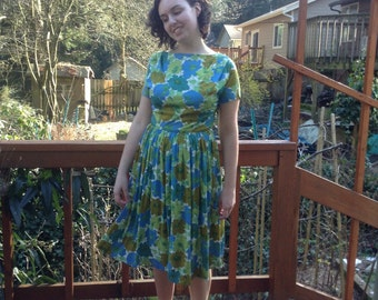 1960s Blue and Green Floral Dress - Ramar of California