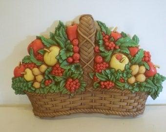 Vintage Homco Fruit Basket Plaque, Wall Art for 70s Retro Kitchen,  Country Kitchen, Wall Decor ,Vintage Decor, Retro,  Mid Century , Modern