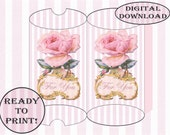 Pink Rose Pillow Box Printable For You Gold Framed Victorian Scrap Shabby Pink Stripe Searsucker Boho Chic Wedding Party Favor Template