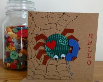 Spider Card ~ Hello ~ Love ~ Birthday ~ Animal Card ~ Handmade Card ~ Kraft Greetings Card