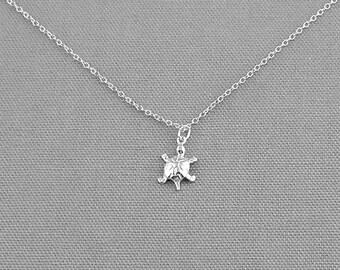 Cute Turtle Sterling Silver Charm Necklace