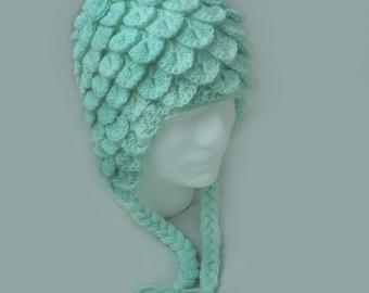 Mint Crochet Crocodile Stitch Hat