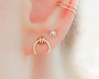 Horseshoe Earrings-Edgy Wrapped Earrings-Horseshoe Stud Earrings-Gold Edgy Earrings-Mix and Match Jewelry-Ear Piercing-Nickle Free Earring