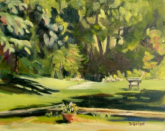 Small Art - Path To The River 10x8 - oil painting - SHIPPING Included