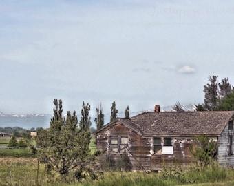 Art Print: PLATTEVILLE no. 45, country landscape, rustic art, rural landscape, rustic landscape, country art, farm house, rural watercolor