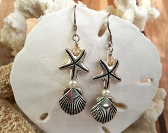 Starfish, shell, pearl and champagne crystal earrings