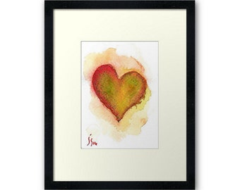 Aceo-Original Watercolor Heart-Free Shipping- Miniature Painting-Not a Print-Heart 3