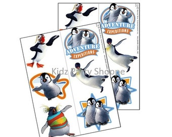 12ct HAPPY FEET Temporary Tattoos Penguins Birthday Party Treat Bags Favors