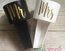 Mr & Mrs Beach Spike/Monogram Beach Spike/Mr and Mrs Beach Drink Holder/Drink Hokders/Monogram Drink Holder/Honeymoon Drink Holders