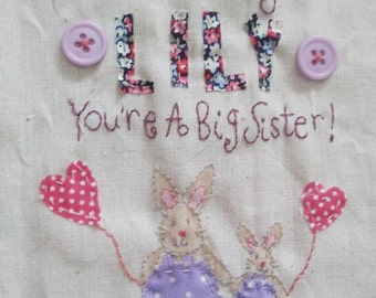 Big Sister Card, New Baby Big Sister Card, Personalised Name Card, Hand Stitched Card
