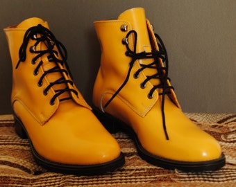 Yellow Patent Leather Boots for Women (size 38 EU)