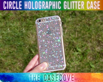 Circle Holographic Glitter iPhone Case - 7 SE 5 5s 6 6s 6 + Plus - Protective - Gift - Present - Phone - disc - Round