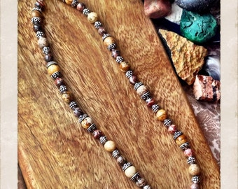 """Jasper and sterling beaded 20"""" necklace with toggle clasp"""