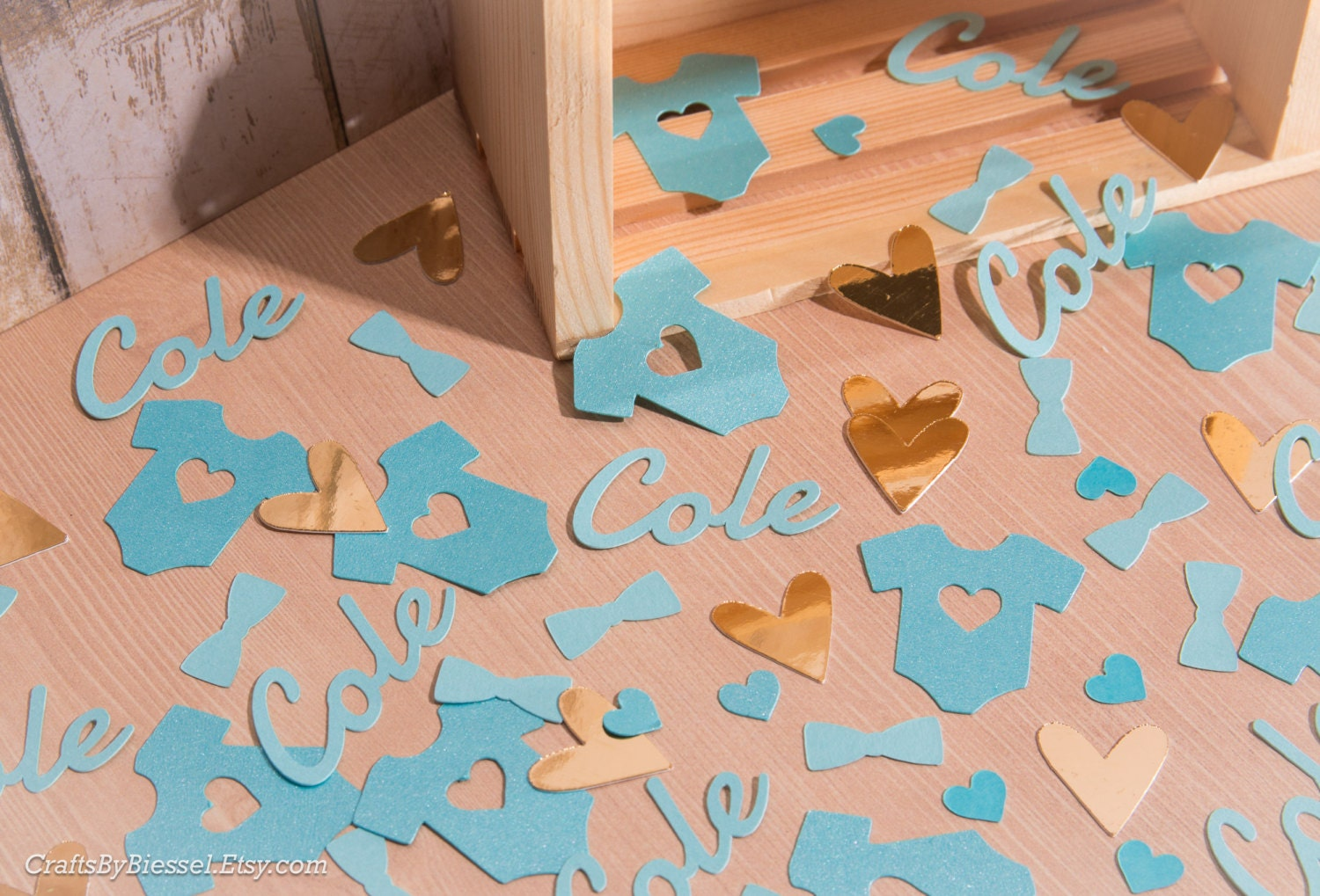personalized baby boy shower confetti chic baby shower