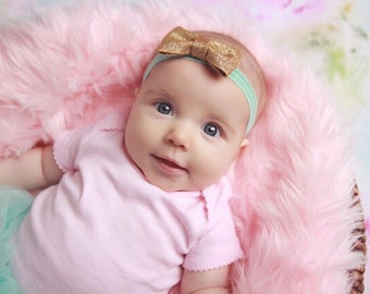 Mint and Gold Bow Baby Headband