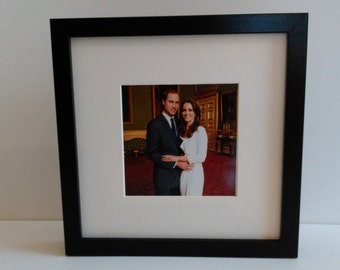 Prince William and Kate Middleton custom framed and mounted portrait photo print 25cm x 25cm #2