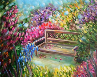 "Original painting ""Bench in the garden"""