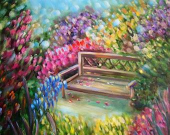 "Original painting ""Bench in the garden"""