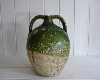 Antique 19th French olive green terra cotta glazed JAR pitcher jug from Perigord, South West France  nut oil jug