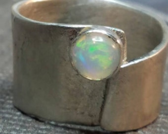 Sterling silver and Ethiopian opal statement ring