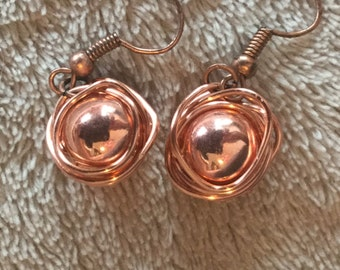 CLEARANCE - Copper wire wrapped earrings