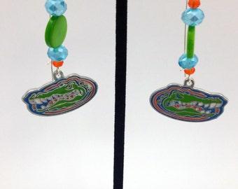 1 Pair -  Florida Gators Theme Dangle Beaded Earrings Brass Ear wire Kidney Style EAR0016