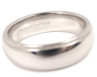 Tiffany & Co Mens 6mm Platinum Milgrain Wedding Band Ring Size 8