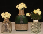 Miniature whiskey/tequilla decorative bottles, Upcycled Bottles, Flower Vases, Shabby chic bottle, Twine