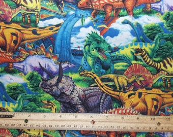 Dinosaur Fabric, Fat Quarter, or Yardage, T-Rex, Tyrannosaurus rex, Velociraptor, Stegosaurus, Colorful Kid Fabric, Boy Fabric