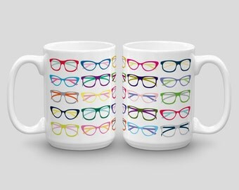 Glasses Mug, Hipster Mug, Geek Mug, Nerd Mug, Coffee Mug for Her, Funny Coffee Mug for Him, Cute Mug, Novelty Mug Gift, Unique Coffee Mugs