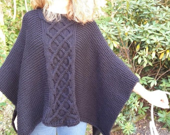 Poncho woman 100% pure organic wool
