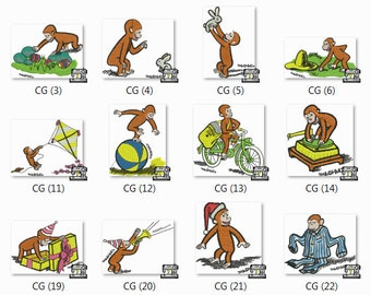 Curious George Embroidery Designs - 24 Embroidery Files - For PES, DST and many more included