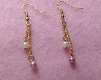 Gold Purple & White Drop Earrings.