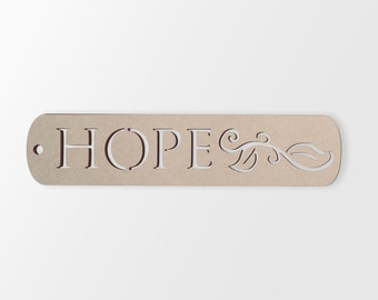 """Wall Art Wood Sign """"HOPE"""" - Cutout, Home Decor, Unfinished and Available from 1 to 42 Inches Wide"""