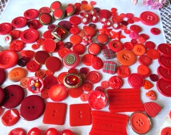 Lot of Vintage Buttons Red  ~ Vintage Mixed Button Lot ~ Scrap-booking ~ Jewelry Making ~  Red Vintage Buttons  ~ Sewing