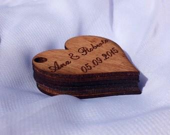 Favor Tags/Engraved Heart Shape Wood Favor Tags/Engraved Wood Gift Tags/Engraved Wood Wedding Favor Tags/Heart Favor Tag/Heart Shaped Tags