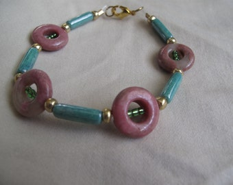 Pink and green stone bracelet
