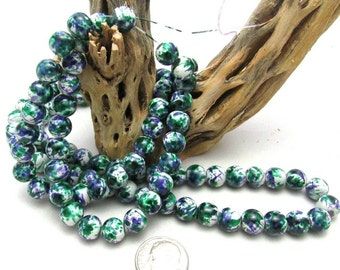 1 Strand Spray Painted Mottled Glass Beads 8mm Green/White/Purple