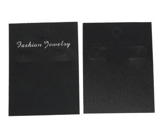 100 Paper Jewelry Earring Display Card Rectangle Black (B45)