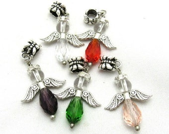 5 Handmade Antique Silver  Crystal Angel Charm Pendants Assorted Colors (B111m)