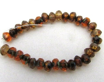 1 Strand Czech Glass O. Orange Mix Rondelle Beads 5x3mm(B13g3)