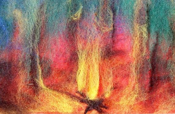Campfire Art,  Wool Art, Wool painting