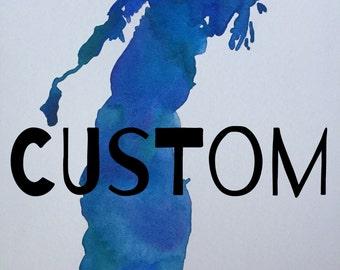 Watercolor--Lake Painting (Custom)--Made to Order