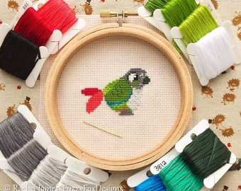 Green Cheek Conure Cross Stitch Pattern PDF | Cute Little Bird | Easy | Modern | Beginners Counted Cross Stitch | Instant Download