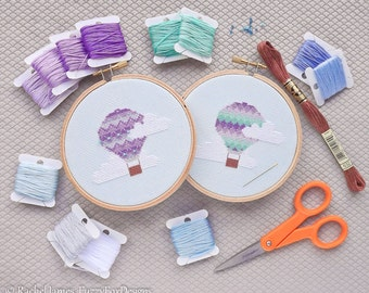 Hot Air Balloon Cross Stitch Pattern PDF | Set 30 Easy Purple and Aqua Balloons | Modern | Beginners Counted Cross Stitch | Instant Download