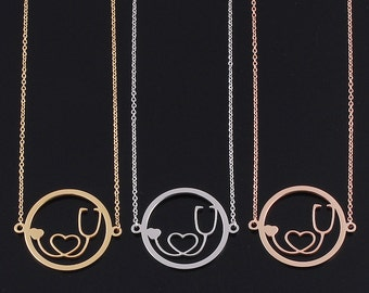 Circle Stethoscope Necklace in stainless steel Silver/Gold/Rose Gold